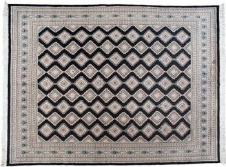 Aga John Oriental Rugs One-of-a-Kind Pakistani Hand-Knotted 9' x 12' Wool Pink/Black Area Rug Aga John Oriental Rugs
