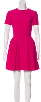 Alexander McQueen Short Sleeve Pleated Mini Dress