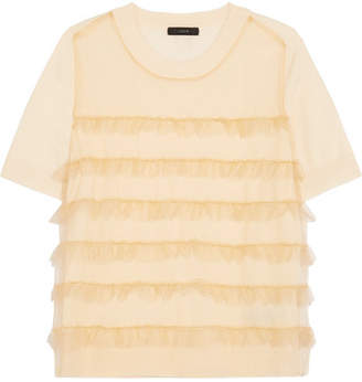 J.Crew Waverly Ruffled Tulle-paneled Merino Wool T-shirt - Cream