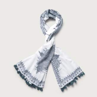 The White Company Cotton Moroccan Tassel Scarf , Storm Blue, One Size