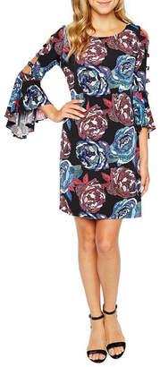 MSK 3/4 Sleeve Floral Puff Print Shift Dress