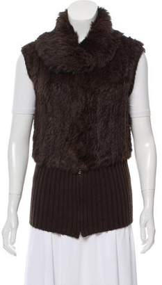 Pinko Knit-Accented Fur Vest