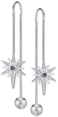 Swarovski Silver-Tone Pave Star and Polished Ball Threader Earrings