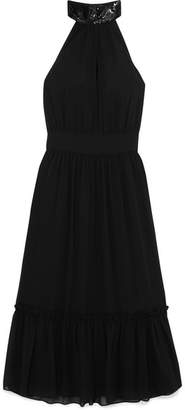MICHAEL Michael Kors Ruffled Embellished Georgette Dress - Black