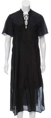 Frame Semi-Sheer Midi Dress