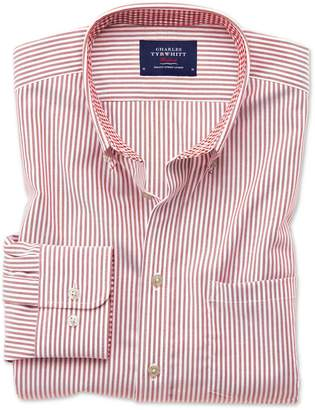 Charles Tyrwhitt Slim Fit Button-Down Non-Iron Oxford Bengal Stripe Rust Cotton Casual Shirt Single Cuff Size Large