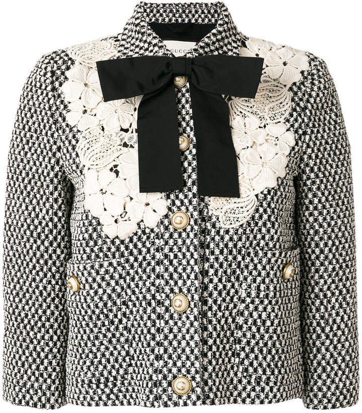 Gucci guipure lace detail jacket