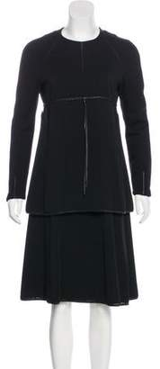 Ralph Rucci Leather-Trimmed Wool Dress