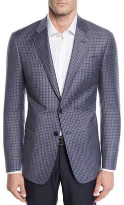 Giorgio Armani Men's Small Check Wool Two-Button Jacket