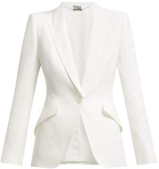 Alexander McQueen Single Breasted Crepe Blazer - Womens - Ivory