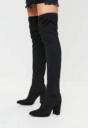 Missguided Black Pointed Neoprene Over The Knee Boots