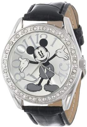 Disney Unisex MK1015 Mickey Mouse Dial Black Crocodile Strap Watch