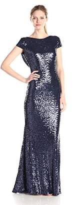 Badgley Mischka Women's Cowl Back Sequin Classic Gown