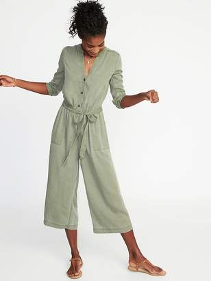 Old Navy Tie-Belt Waist-Defined Tencel® Utility Jumpsuit for Women