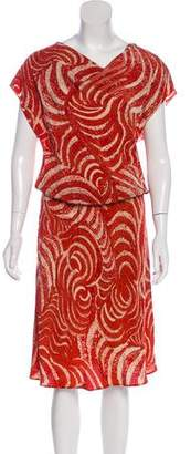 Josie Natori Silk Printed Dress