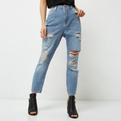 River IslandRiver Island Womens Petite light blue ripped Mom jeans