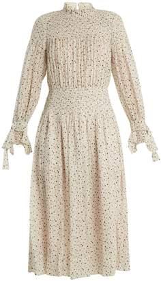 Rebecca Taylor Smocked star-print silk and cotton-blend dress