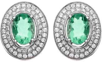 5th & Main Platinum-Plated Sterling Silver Oval-Cut Green Obsidian Pave CZ Earrings