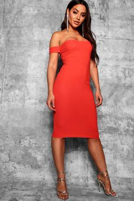 boohoo Off Shoulder Curved Neckline Midi Dress