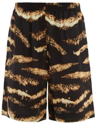 Raey Bleached Tiger Print Silk Shorts - Womens - Black Print