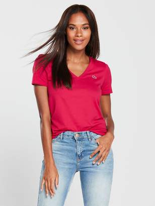 Lacoste V Neck T-Shirt - Red