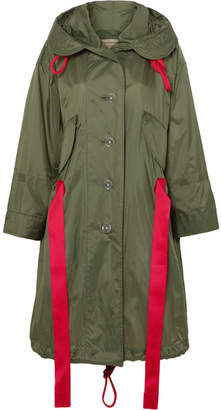 Burberry Oversized Hooded Shell Coat - Army green