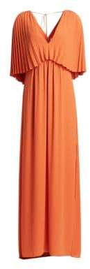 Halston Pleated Overlay Tie-Back Georgette Gown