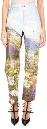 Balenciaga Mountains-Print Tri-Panel Straight-Leg Leather Pants
