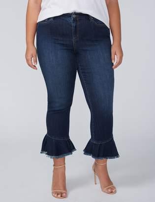 Skinny Crop Jean with Ruffle Hem