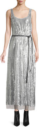 Marc Jacobs Scoop-Neck Sleeveless Mirrored-Sequins Belted Cocktail Dress