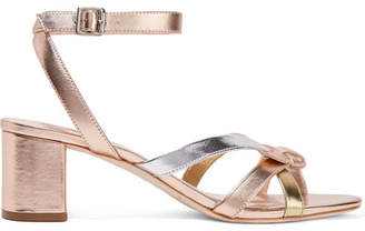 Loeffler Randall Anny Bow-detailed Metallic Leather Sandals - US10.5