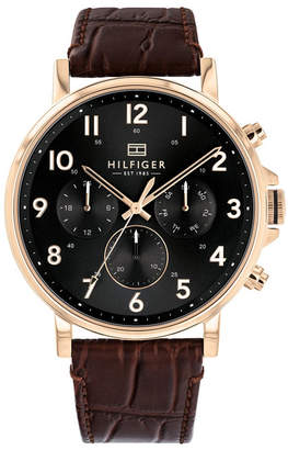 Tommy Hilfiger Mens Brown Leather Watch 44mm, s
