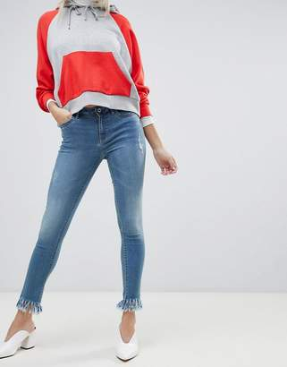 Only frayed hem skinny jean in blue