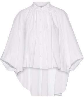 DELPOZO Asymmetric Pintucked Cotton-Poplin Blouse
