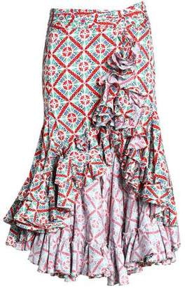 Caroline Constas Giovanna Asymmetric Ruffle-Trimmed Floral-Print Cotton-Blend Poplin Skirt
