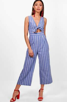 boohoo Stripe Tie Front Culotte Jumpsuit