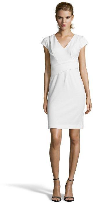 Rebecca Taylor cream stretch cotton blend asymmetrical sleeveless dress