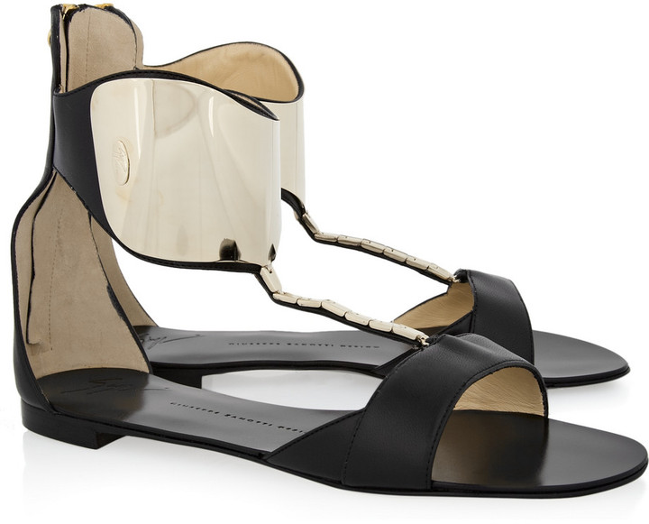 Giuseppe Zanotti Metal-plated nappa leather sandals