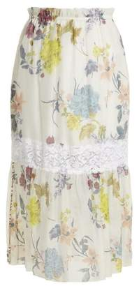 See by Chloe Floral Paper Bag Midi Skirt - Womens - White Multi