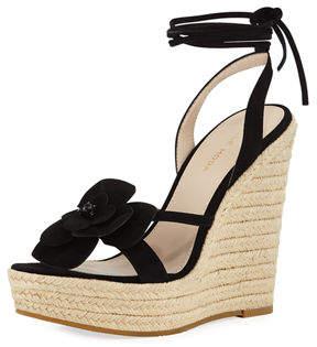 27ceec3d1a2 Pelle Moda Olena Flower Wedge Sandals