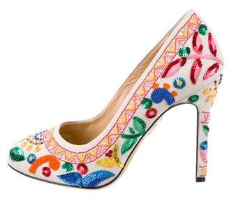 Charlotte Olympia Embroidered Canvas Pumps