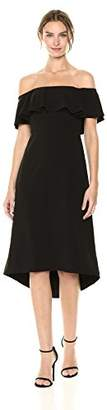 Halston Women's Off Shoulder Flounce Detail Crepe Dress