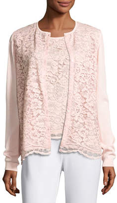 Joan Vass Lace-Front Cardigan, Light Pink, Petite