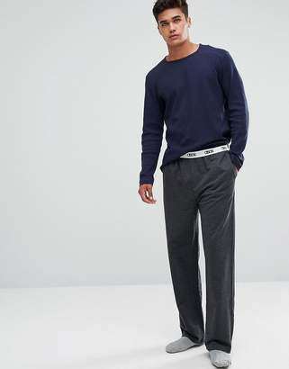 Asos Straight Leg Jersey Pajama Bottom With Branded Waistband