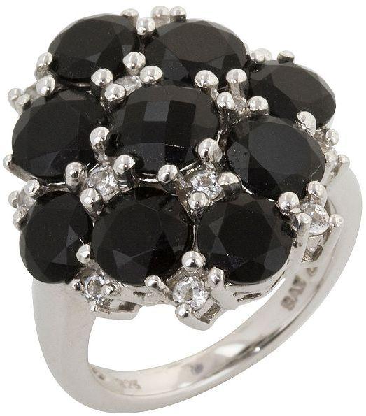 Sterling silver onyx & white topaz ring