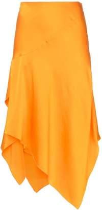 Poiret mid rise asymmetric silk skirt