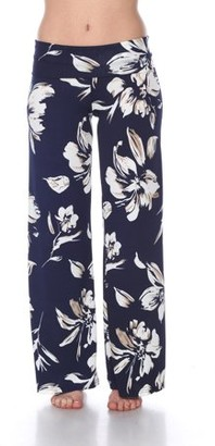 White Mark Women's Hawaiian Flower Palazzo Pants