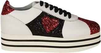 Chiara Ferragni Glitter Heart Platform Sneakers