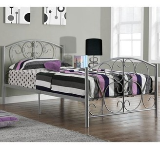 Monarch Specialties Monarch Bed Twin Size / Silver Metal Frame Only