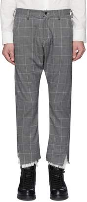 Sulvam Raw cuff houndstooth check plaid pants